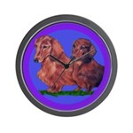 Long Haired Dachshunds Wall Clock