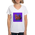 Long Haired Dachshunds Women's V-Neck T-Shirt