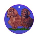 Long Haired Dachshunds Ornament (Round)