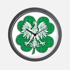 Irish Polish Shamrock Eagle Wall Clock