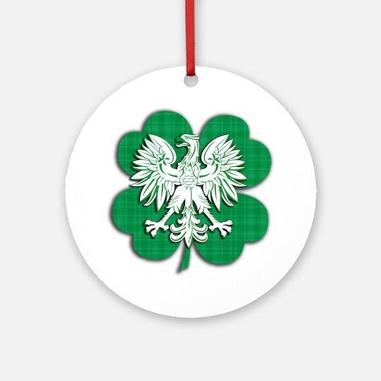Irish Polish Shamrock Eagle Round Ornament