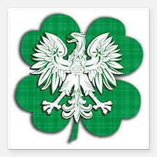 "Irish Polish Shamrock Ea Square Car Magnet 3"" x 3"""