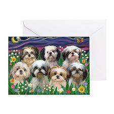 8x10-7 SHIH TZUS-Moonlight Garden Greeting Card