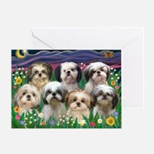 8x10-7 SHIH TZUS-Moonlight Garden Greeting Card