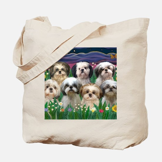 8x10-7 SHIH TZUS-Moonlight Garden Tote Bag