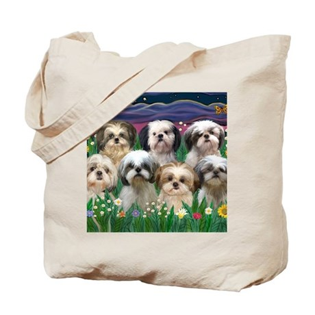 8x10 7 SHIH TZUS Moonlight Garden Tote Bag