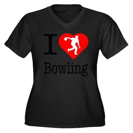 I-Heart-Bowl Women's Plus Size Dark V-Neck T-Shirt