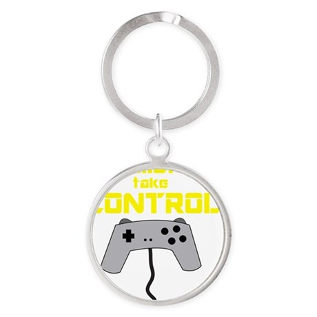 GAMERS TAKE CONTROL yellow Round Keychain