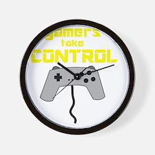 GAMERS TAKE CONTROL yellow Wall Clock