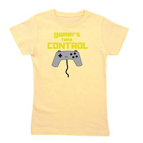 GAMERS TAKE CONTROL yellow Girl's Tee