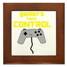 GAMERS TAKE CONTROL yellow Framed Tile