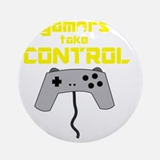 GAMERS TAKE CONTROL yellow Round Ornament