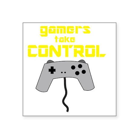 "GAMERS TAKE CONTROL yellow Square Sticker 3"" x 3"""