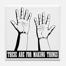 hands-work-T Tile Coaster