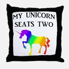 MY UNICORN SEATS TWO BLACK Throw Pillow