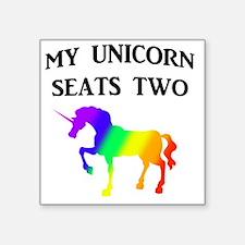 "MY UNICORN SEATS TWO BLACK Square Sticker 3"" x 3"""