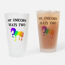 MY UNICORN SEATS TWO BLACK Drinking Glass
