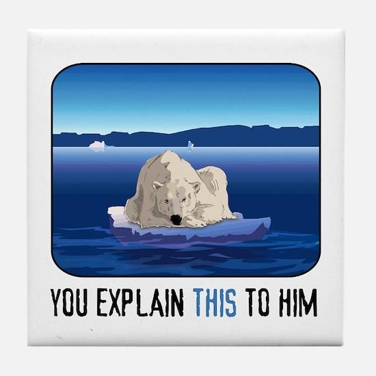 Arctic Polar Bear Tile Coaster