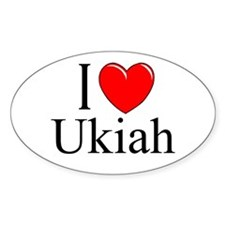 """I Love Ukiah"" Oval Decal"