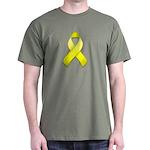 Yellow Awareness Ribbon Dark T-Shirt
