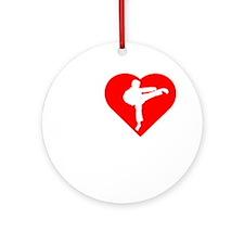 I-Heart-Karate-Darks Round Ornament