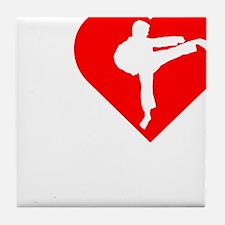 I-Heart-Karate-Darks Tile Coaster