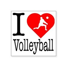 "I-Heart-Volleyball Square Sticker 3"" x 3"""