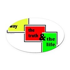 Way Truth Life Oval Car Magnet