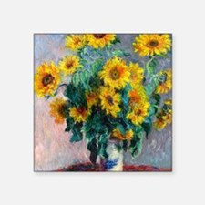 "NC Monet Sunflowers Square Sticker 3"" x 3"""