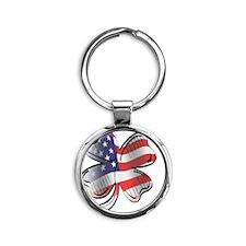 Small US Flag copy Round Keychain
