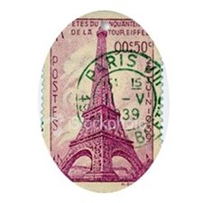 Vintage Stamp Oval Ornament