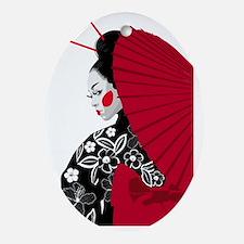 geishashowercurtain Oval Ornament