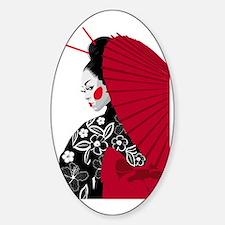geishashowercurtain Sticker (Oval)