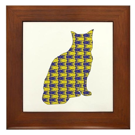 Tabby With Fishes Framed Tile