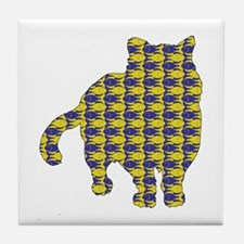 Shorthair With Fishes Tile Coaster