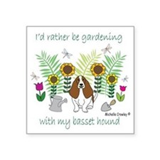 "BassetHound Square Sticker 3"" x 3"""