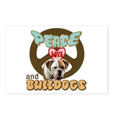 PEACE LOVE and BULLDOGS Postcards (Package of 8)