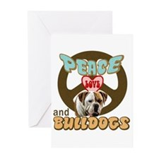 PEACE LOVE and BULLDOGS Greeting Cards (Package of