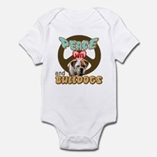 PEACE LOVE and BULLDOGS Infant Bodysuit