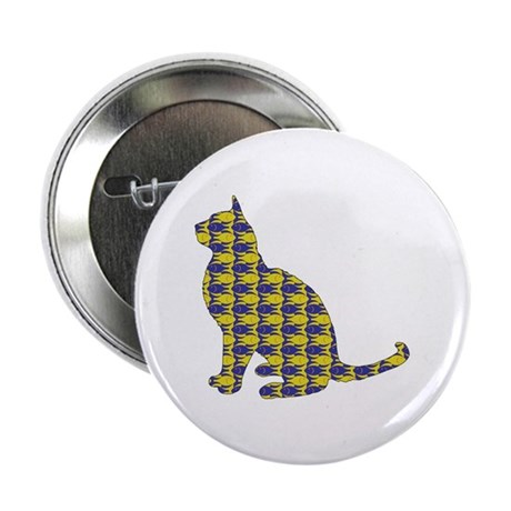 """Cat With Fishes 2.25"""" Button (100 pack)"""