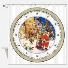 CLOCK A Christmas Eve Silver Star Shower Curtain