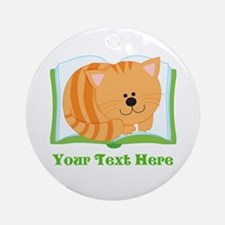 Personalized Book Lover Cat Ornament (Round)