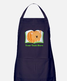 Personalized Book Lover Cat Apron (dark)