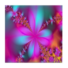 fractal-flowers2-showercurtain Tile Coaster