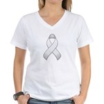 White Awareness Ribbon Women's V-Neck T-Shirt