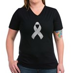 White Awareness Ribbon Women's V-Neck Dark T-Shirt