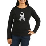 White Awareness Ribbon Women's Long Sleeve Dark T-