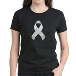 White Awareness Ribbon Women's Dark T-Shirt