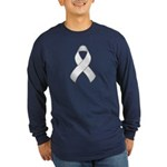 White Awareness Ribbon Long Sleeve Dark T-Shirt