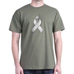 White Awareness Ribbon Dark T-Shirt